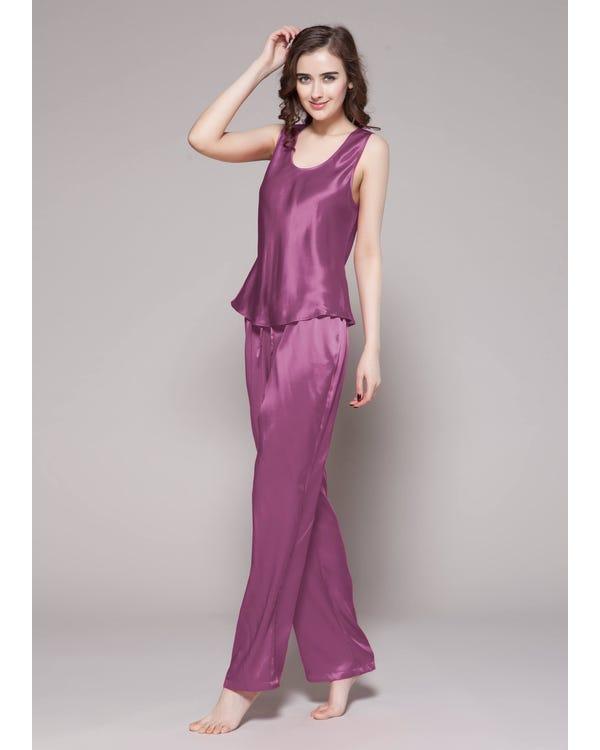 22 Momme Long Silk Camisole Set Violet 1X