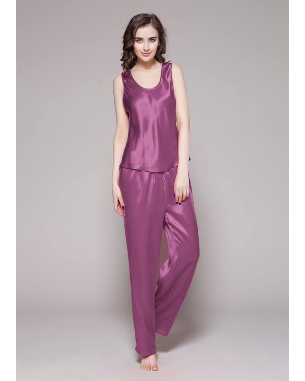 22 Momme Long Silk Camisole Set Violet 1X-hover