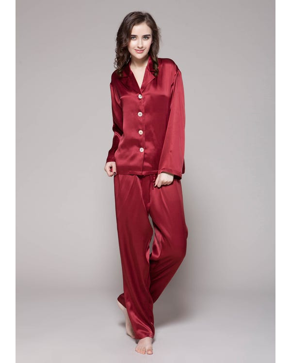 22 Momme Long Classic Silk Pajama Set Claret 1X