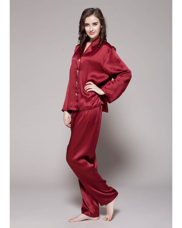22 Momme Long Classic Silk Pajama Set Claret 1X-hover
