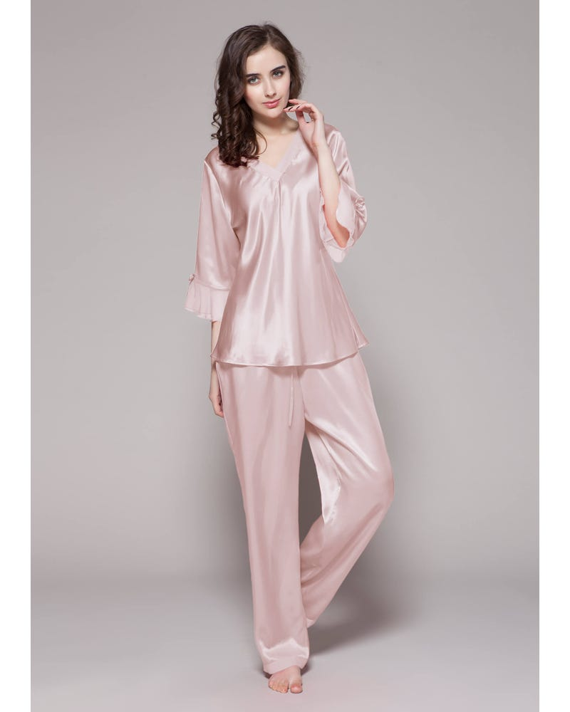 22 Momme Laced Zijden Pyjama Set