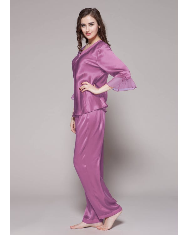 22 Momme Laced Silk Pajama Set Violet XS