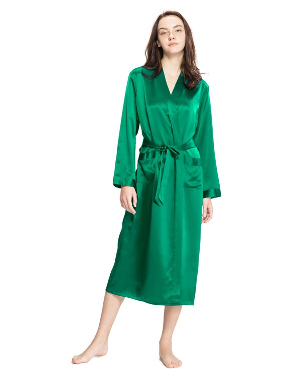 22 Momme Classic Full Length Silk Robe Green Jade 3X-hover