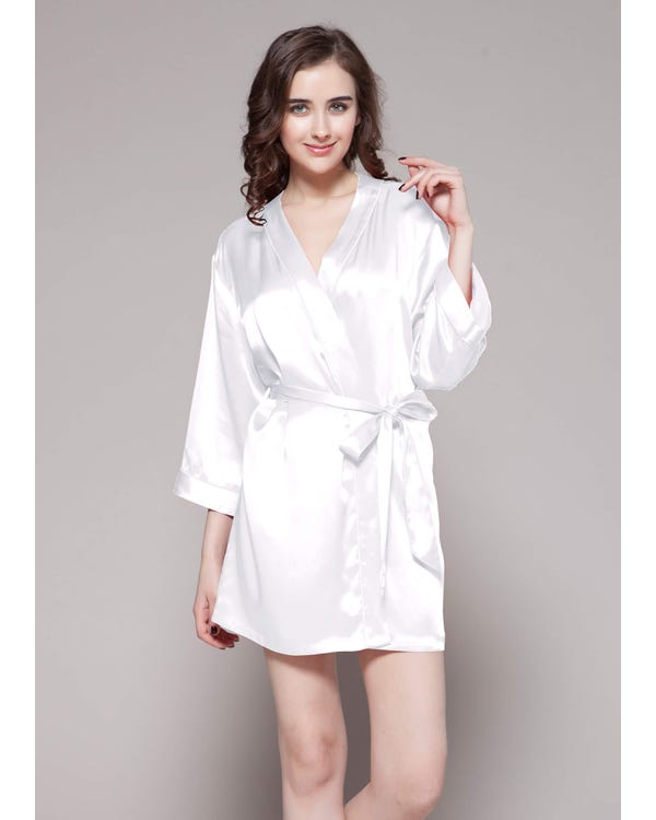 22 Momme Mini Cut Silk Robe White 1X