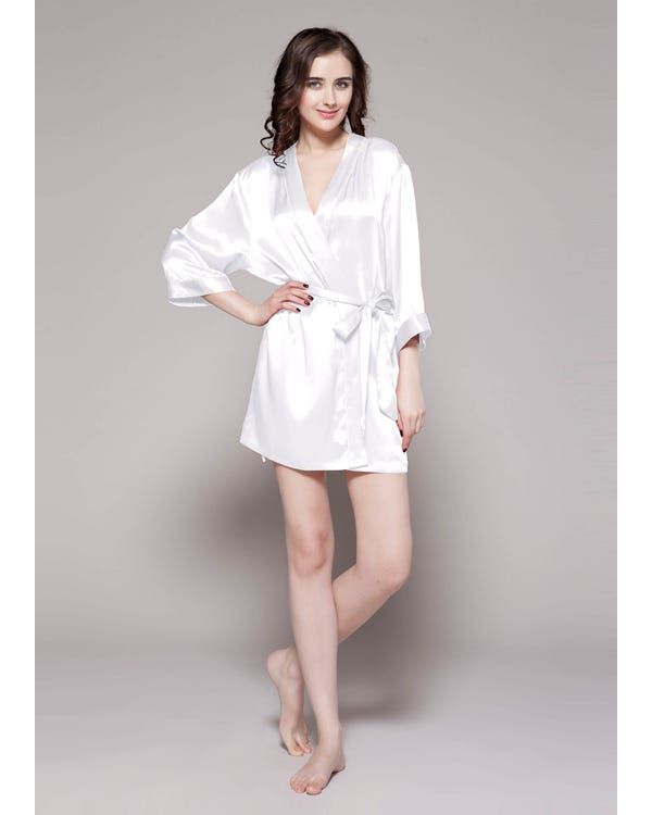 22 Momme Mini Cut Silk Robe White 1X-hover