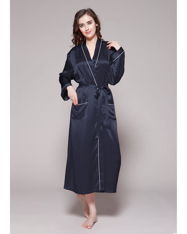 22 Momme Contra Trim And Full Length Silk Robe Navy Blue 1X