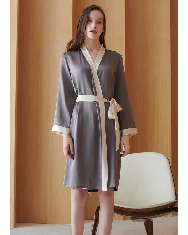 22 Momme Reverse Trim Mid Length Silk Dressing Gown Dark Gray 2X