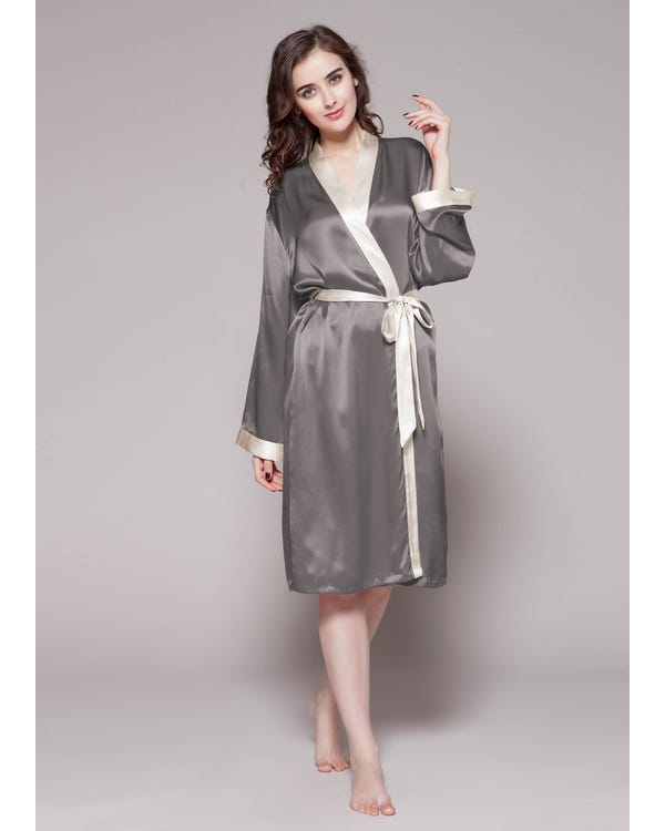 22 Momme Reverse Trim Mid Length Silk Robe