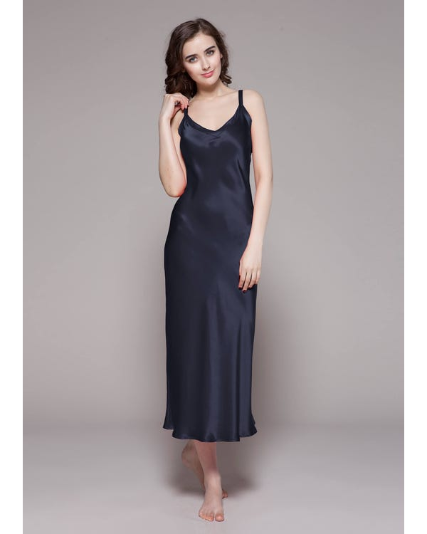 22 Momme Long & Close Fitting Silk Nightgown Navy Blue 3X