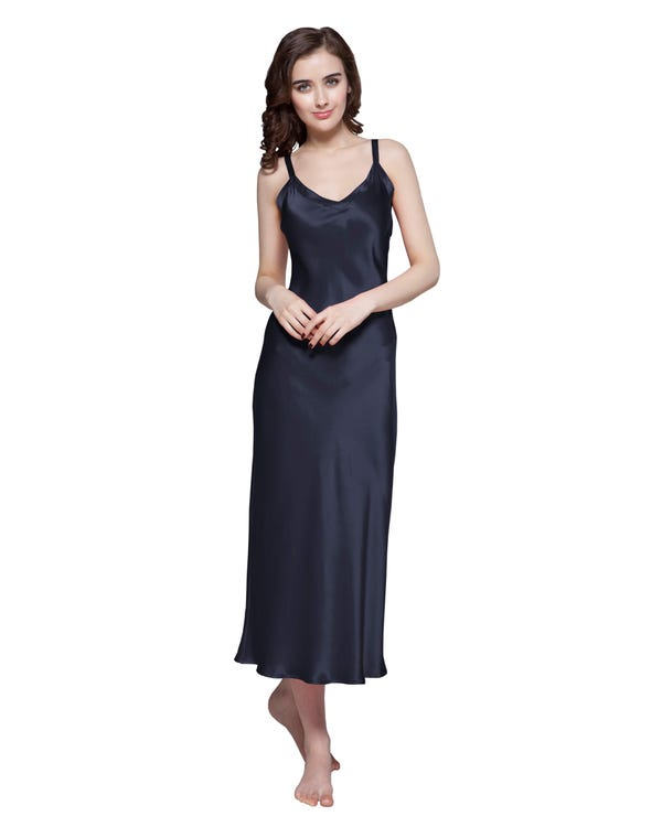 22 Momme Long & Close Fitting Silk Nightgown Navy Blue 1X-hover