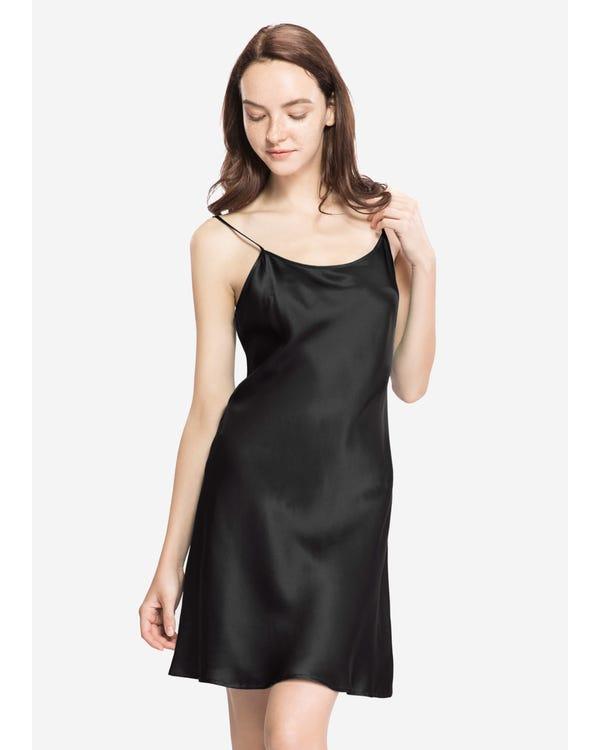 22 Momme Seide Sexy Nachthemd Damen Schwarz 1X