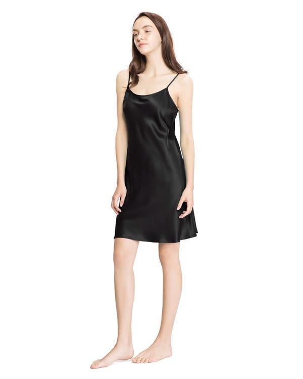 22 Momme Seide Sexy Nachthemd Damen Schwarz 1X-hover