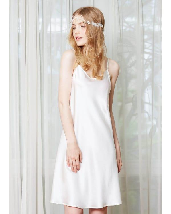 22 Momme Feminine Silk Chemise White XL