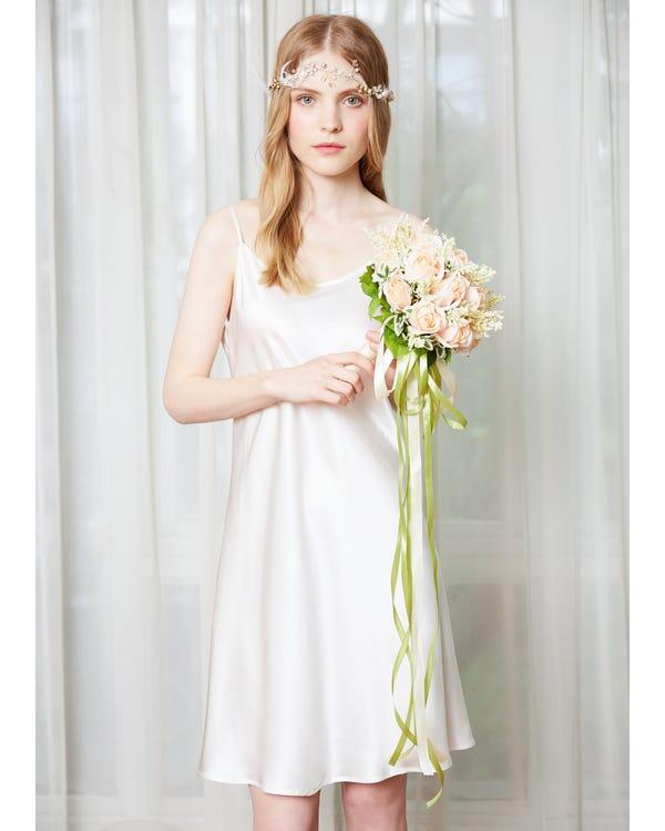 22 Momme Feminine Silk Chemise White 1X-hover