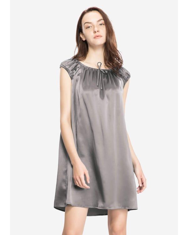 22 Momme Seide Knie Lang Nachthemd Damen Dunkel Grau M bis L