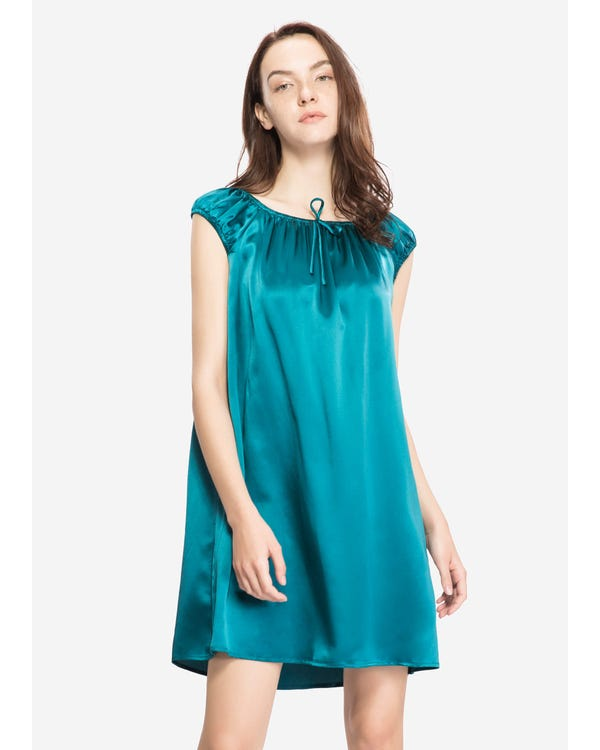 22 Momme Mid length Silk Nightgown with Tied Bust Dark Teal 1X