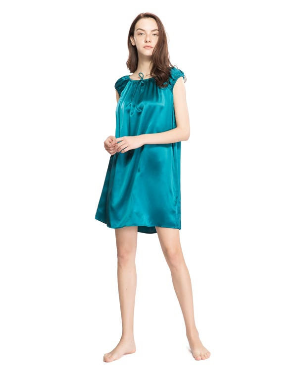 22 Momme Mid length Silk Nightgown with Tied Bust Dark Teal 1X-hover