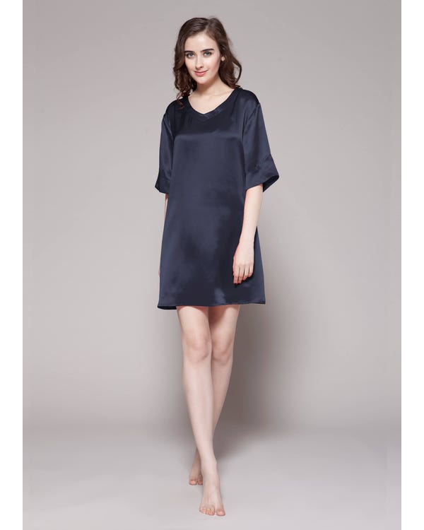 22 Momme Wide V neck Silk Nightgown-hover