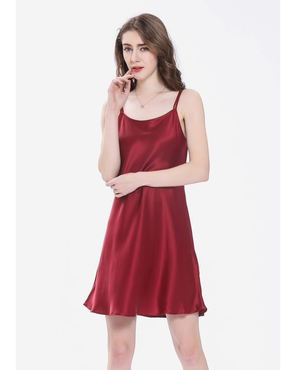 22 Momme über Knee Sexy Seide Nachtkleider Nachthemd Damen Rotwein M bis L