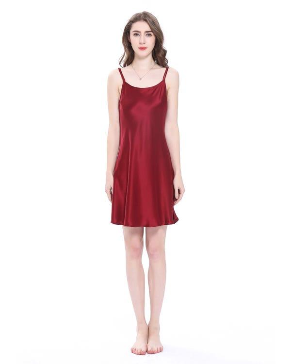 22 Momme über Knee Sexy Seide Nachtkleider Nachthemd Damen Rotwein M bis L-hover