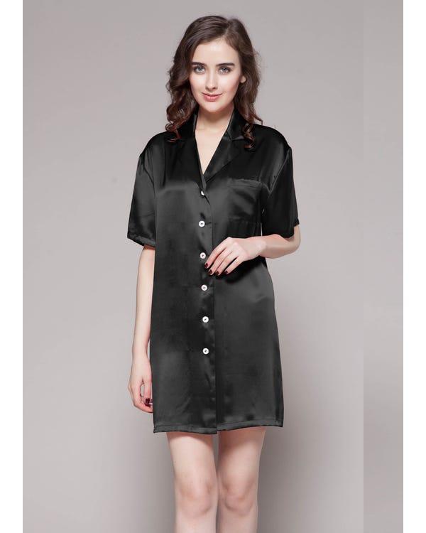 22 Momme Seide Knopf Shirt Sexy Nachthemd Damen Schwarz M bis L