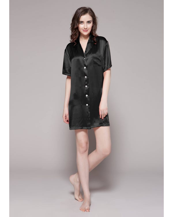 22 Momme Seide Knopf Shirt Sexy Nachthemd Damen Schwarz M bis L-hover