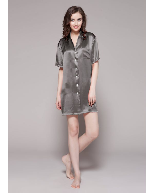 22 Momme Button Front Silk Nightshirt-hover