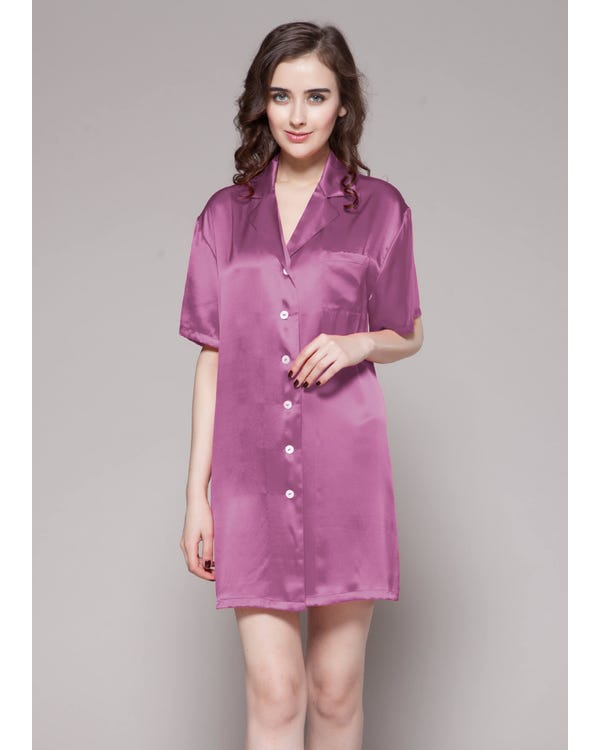 22 Momme Button Front Silk Nightshirt Violet 1X