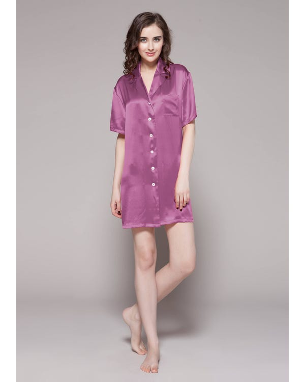22 Momme Button Front Silk Nightshirt Violet 1X-hover