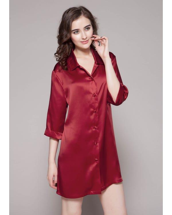 22 Momme Classic Silk Nightshirt Claret XXL