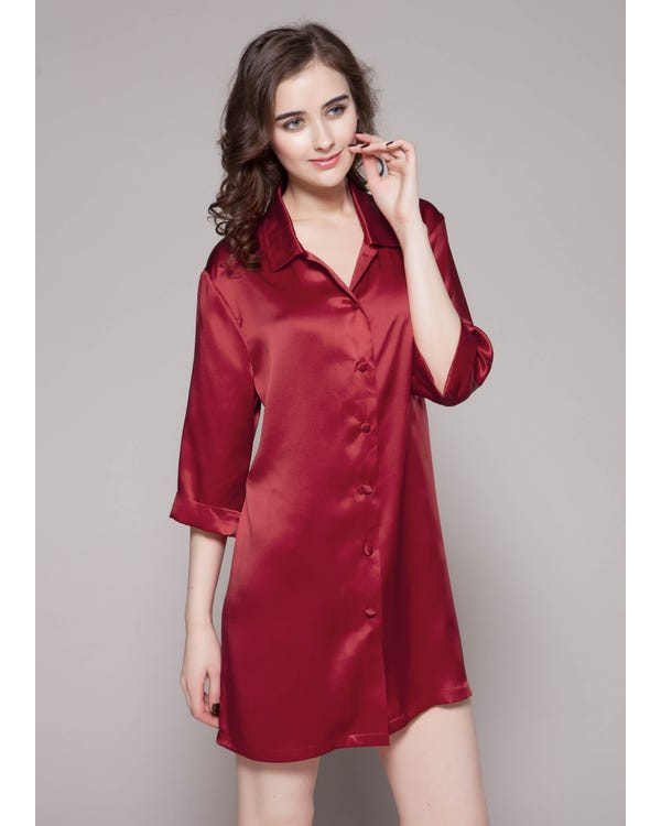Klassiske Silke Natskjorte Claret XL