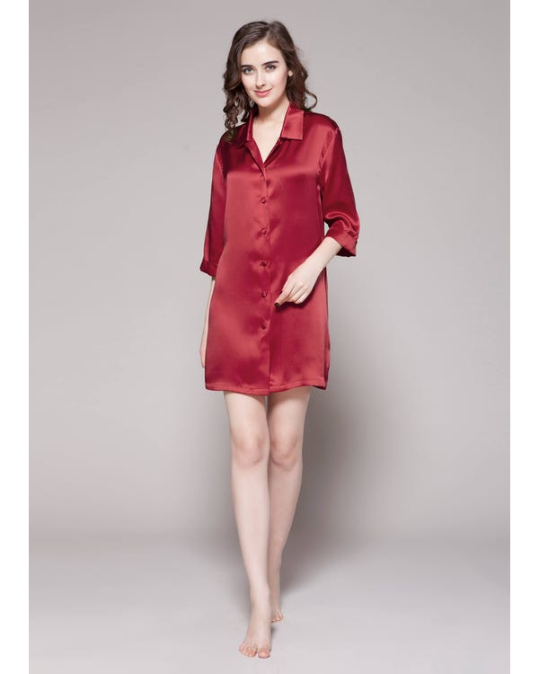 22 Momme Classic Silk Nightshirt Claret 1X-hover