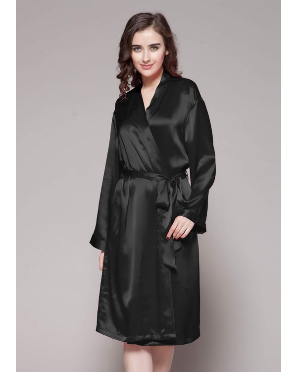 22 Momme Classic Mid Silk Robe Black 1X