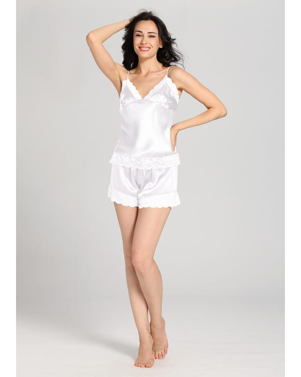 22 Momme Lace Silk Camisole Set White 1X-hover