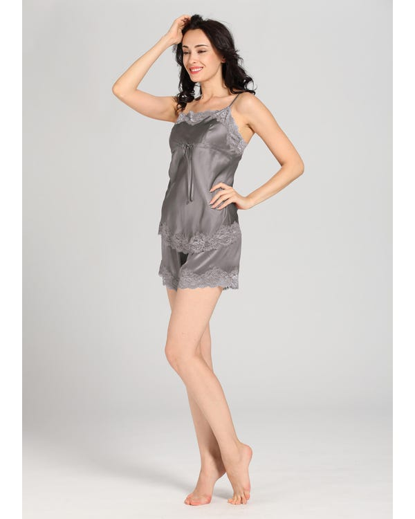 22 Momme Lace Trim Silk Camisole Set Dark Gray 1X-hover