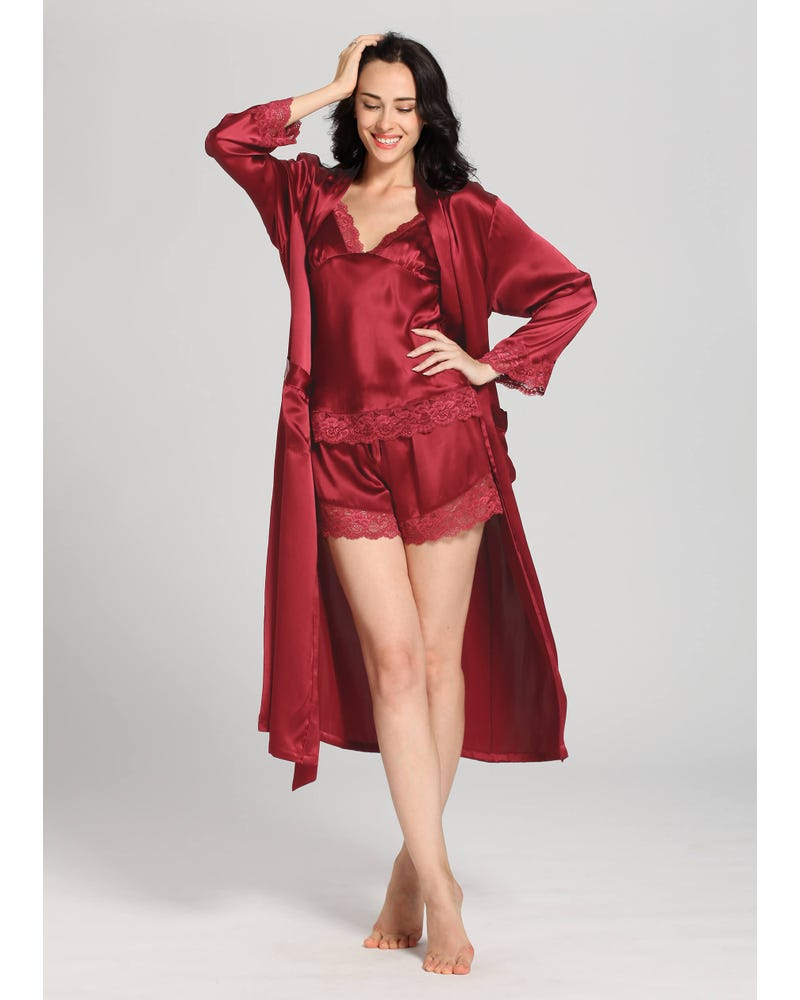 22 Momme Lace Silk Camisole & Dressing Gown Set