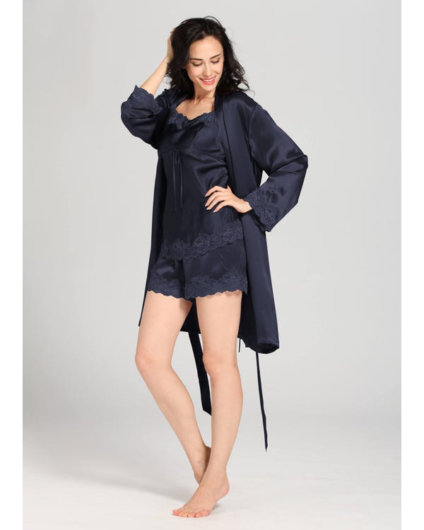 22 Momme Short Lacey Silk Camisole & Robe Set Navy Blue 1X