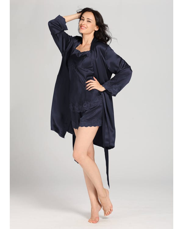 22 Momme Short Lacey Silk Camisole & Robe Set Navy Blue XXL-hover