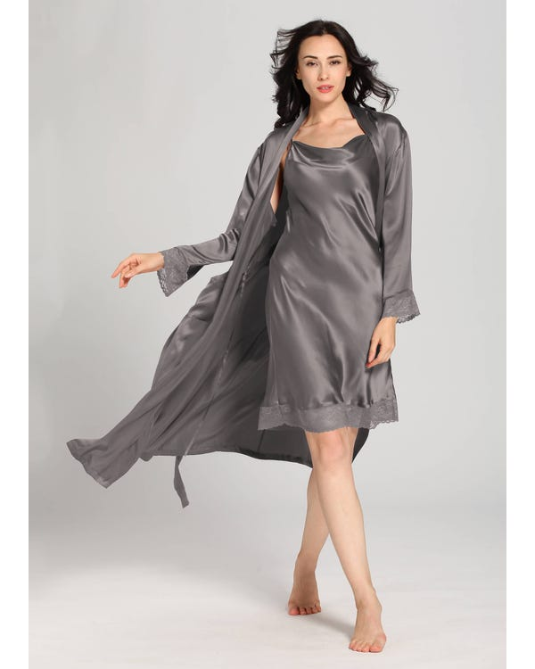 22 Momme Lace Long Silk Nightgown & Robe Set Dark Gray 1X