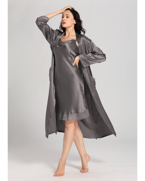22 Momme Lace Long Silk Nightgown & Robe Set Dark Gray 1X-hover