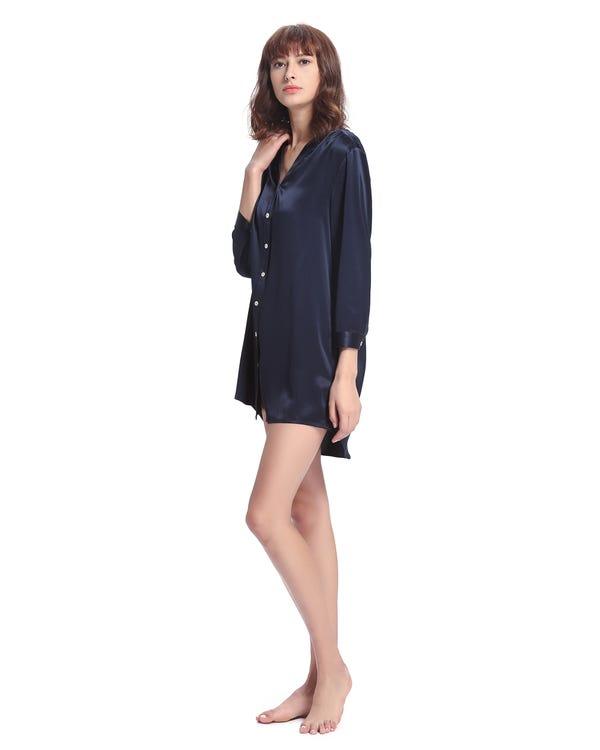 22 Momme Elegant Damen Seide Nachthemd Dunkel Blau 1X-hover