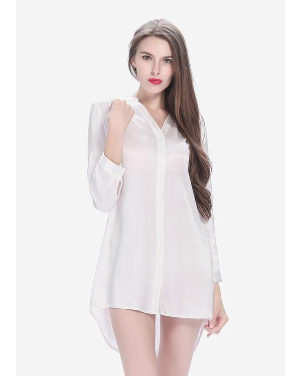 22 Momme Elegant Women Silk Nightshirt White 1X