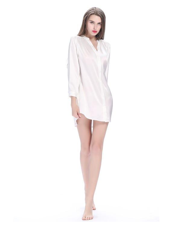 22 Momme Elegant Women Silk Nightshirt White 1X-hover