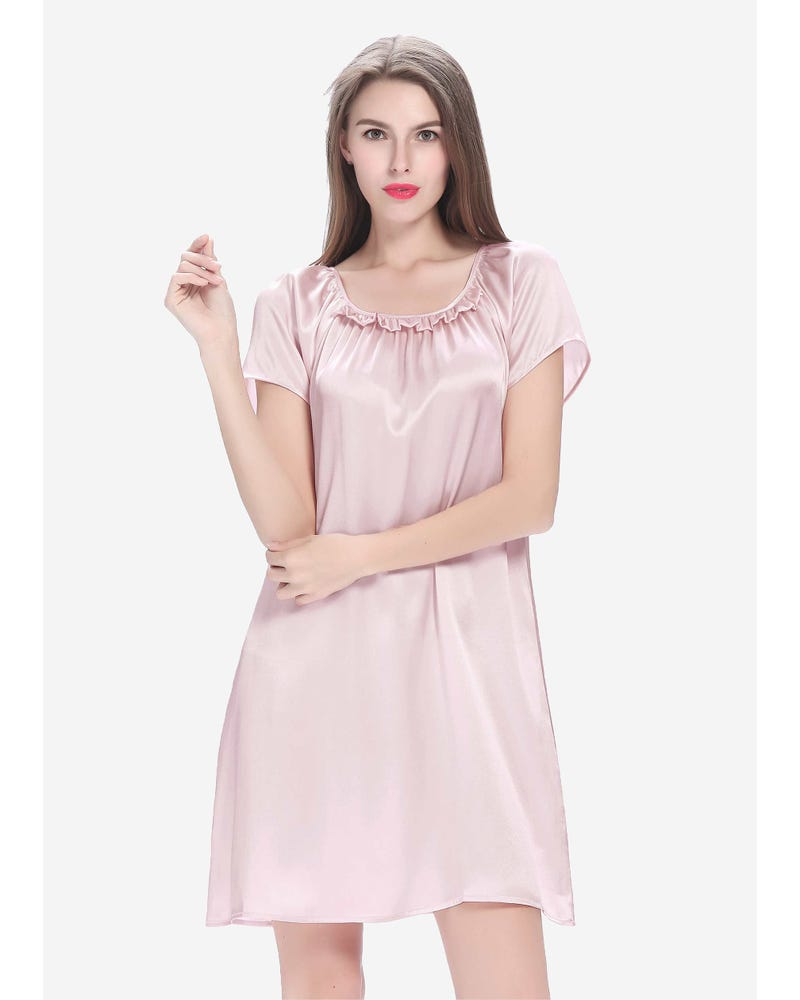 22 Momme Ruffle Trimmed Silk Nightdress