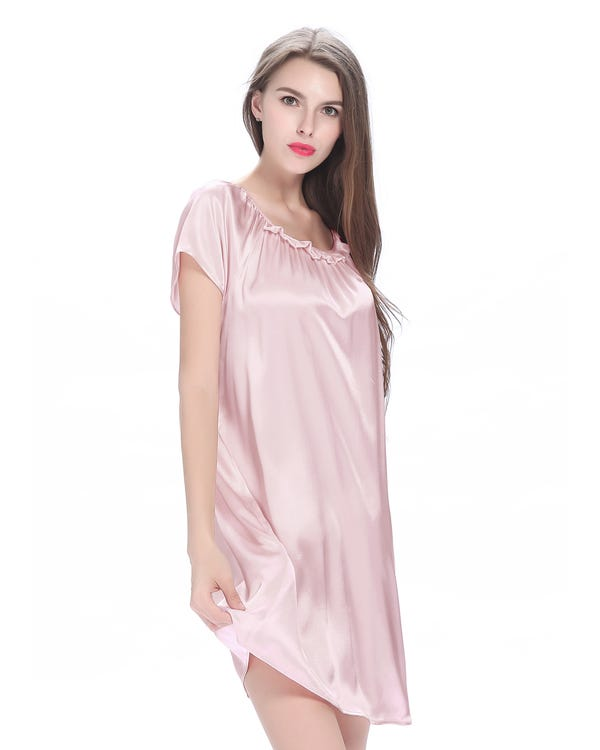 22 Momme Ruffle Trimmed Silk Nightgown-hover