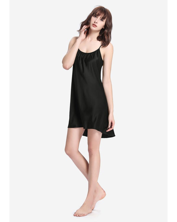 22 Momme Sexy Irregular Silk Nightgown Black 1X