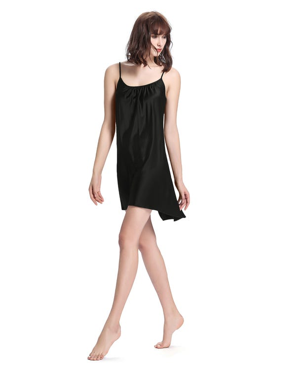 22 Momme Sexy Irregular Silk Nightgown Black 1X-hover