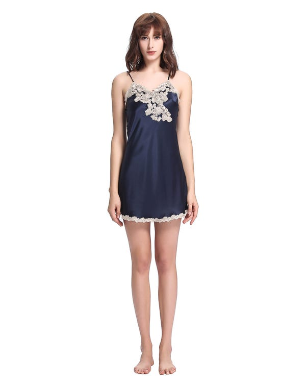 22 Momme Floral Lace Trimmed Silk Chemise Navy Blue 1X-hover