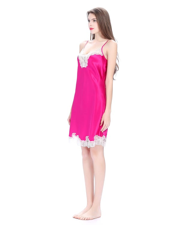 22 Momme Short  Chemise With Flower Lace