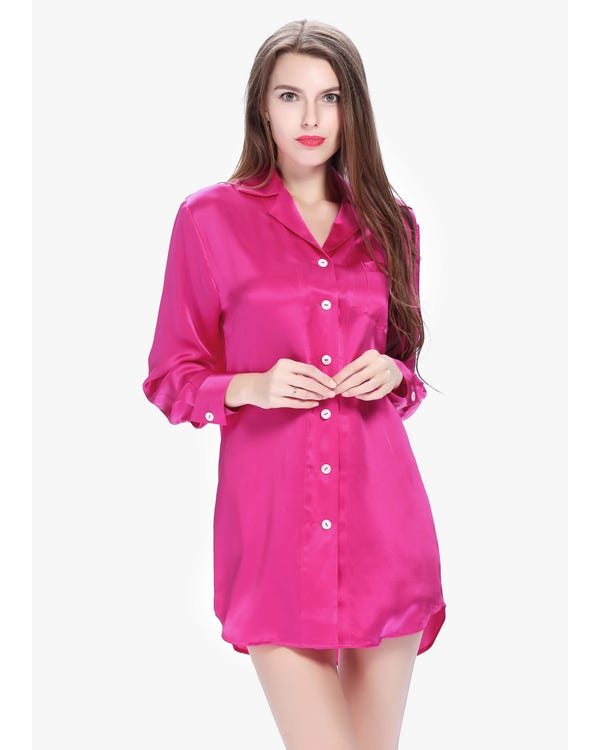 22 Momme Long Sleeve Casual Silk Nightshirt Hot Pink 2X